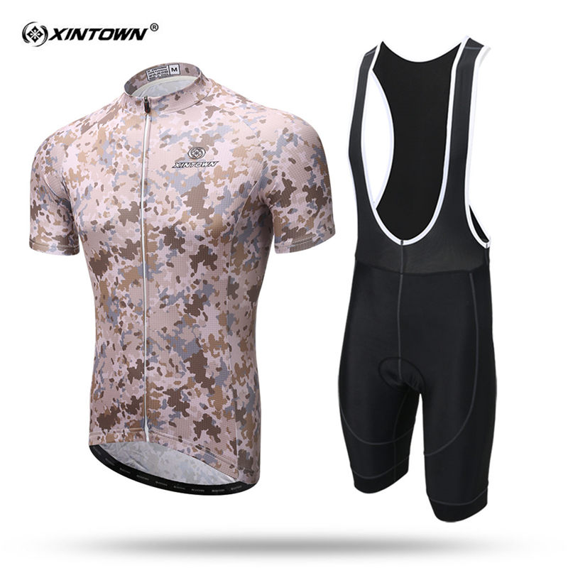 XINTOWN Camouflage Short Sleeve Cycling Jersey Set Sweat MTB Bike Clothing Summer Bicycle Jerseys Maillot Ropa Ciclismo