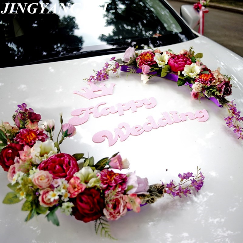 Crown Moon bend HAPPY WEDDING silk rose flowers Ribbon bow Wedding Car flower set Decoration Wedding