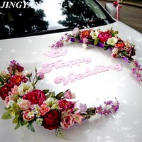 Crown Moon bend HAPPY WEDDING silk rose flowers Ribbon bow Wedding Car flower set Decoration Wedding Supplies
