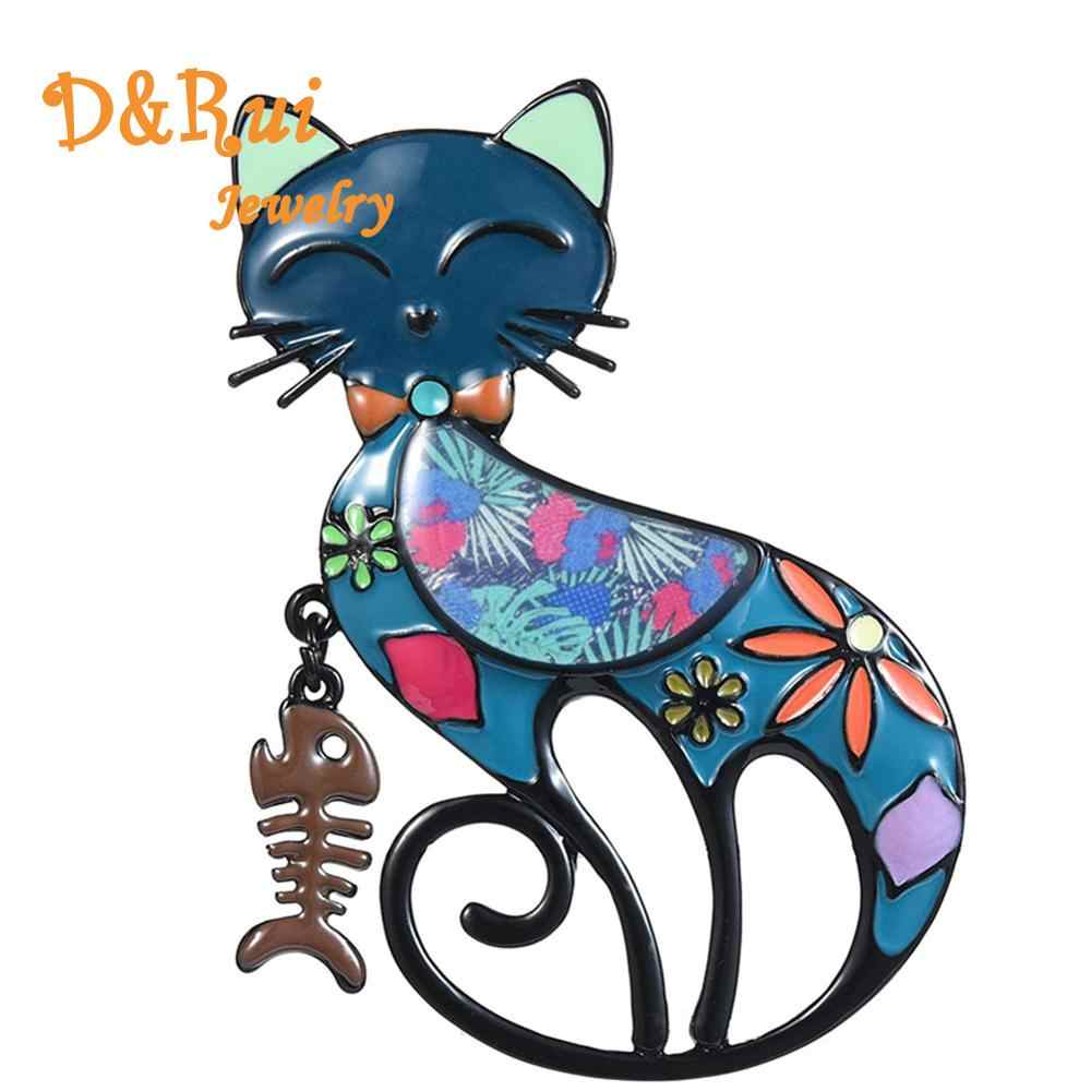 D&Rui Jewelry 2019 Bridal New Fashion Enamel Cat Fish Bone Brooches Pins for Women High Quality Popular Animal Pet Brooch Pin