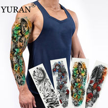 Skull with Mask Girl Sexy Women Body Art Flash Waterproof Tattoo Stickers 48*17CM Big Temporary Tattoo Full Arm Sleeve Tatto Men(China)