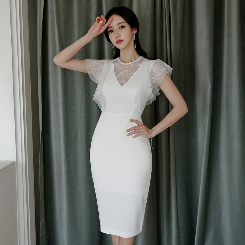 2019 Summer Women Dress Office Sexy Short Sleeve Bandage Bodycon Dress Pencil Lace Dress Vintage Party Dresses Vestidos in Dresses from Women 39 s Clothing