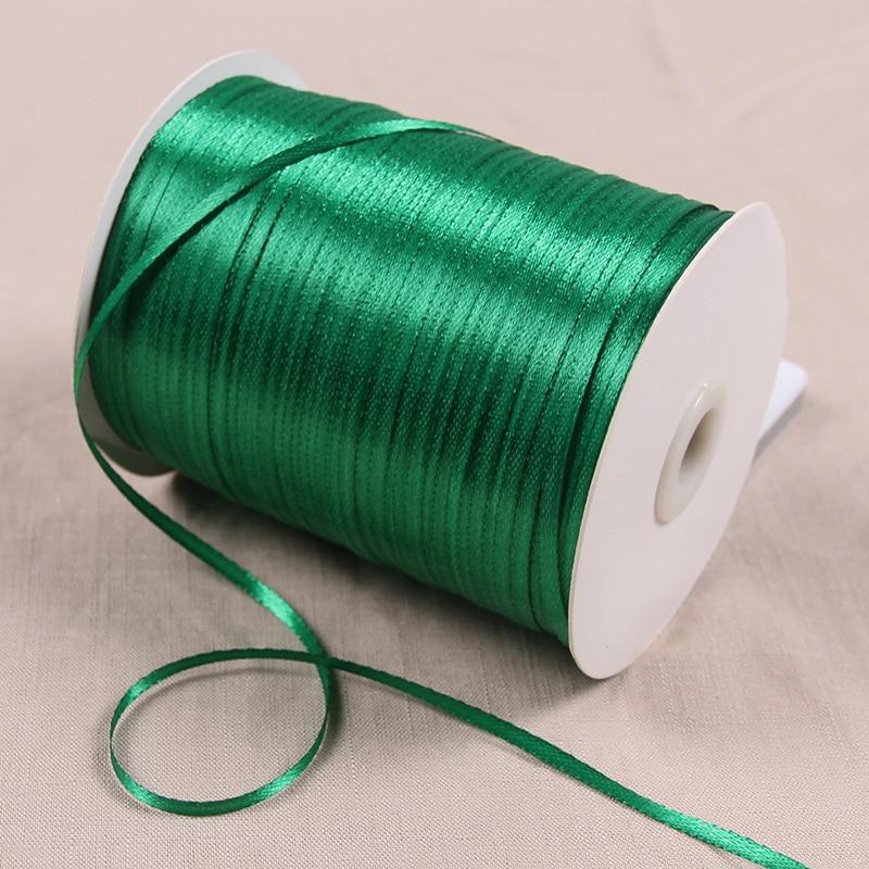 3 мм атласные ленты 22 м/лот DIY ручной работы товары для украшения свадьбы, дня рождения Подарочная упаковка белые ленты - Цвет: Зеленый