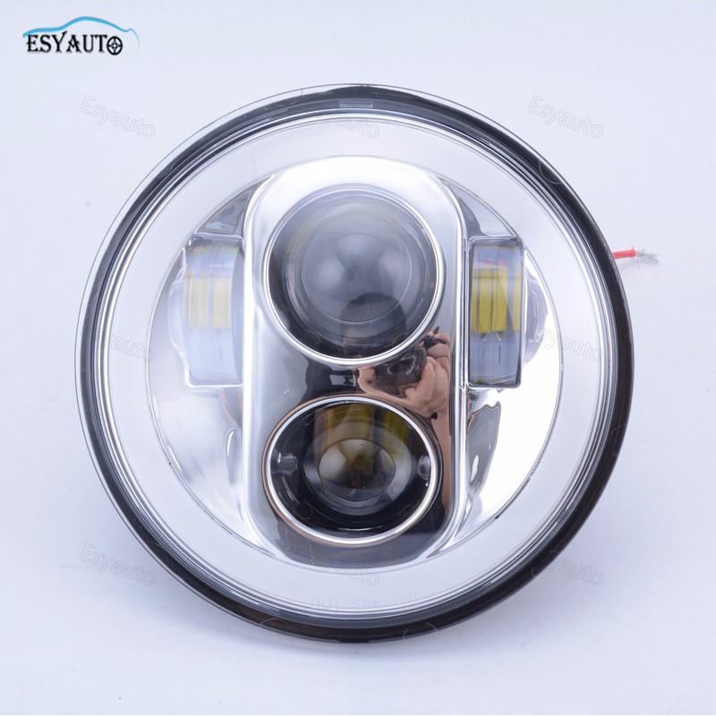 5.75 inch Headlight White Color Angel eye DRL Hi/Lo Beam 5 3/4 inch Headlamp Round LED Light for Harley Davidson Motorcycle 1pcs 5 75 inch led motorcycle projector daymakers 5 75 inch headlight for harleys dyan h4 hi lo beam lights lamp bulb angle eye