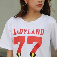2017 Cotton Female Short Sleeved Loose T Shirt Big Letters T Shirt Printing All Match