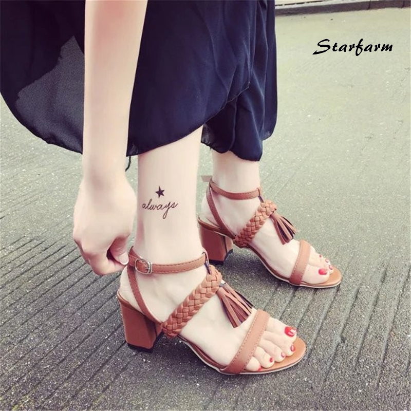 2017 New Fringe Heels Gladiator Sandals Woman Mujer Medium Ankle Strap Heel Shoes Woman Summer Designer STARFARM-SFDX-013