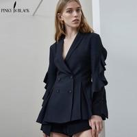 Pinky Is Black Blazer Women Suits Ladies Blazers Ruffles Sleeve Office Suit Jackets Slim Blazer Female Double Breasted Outwear