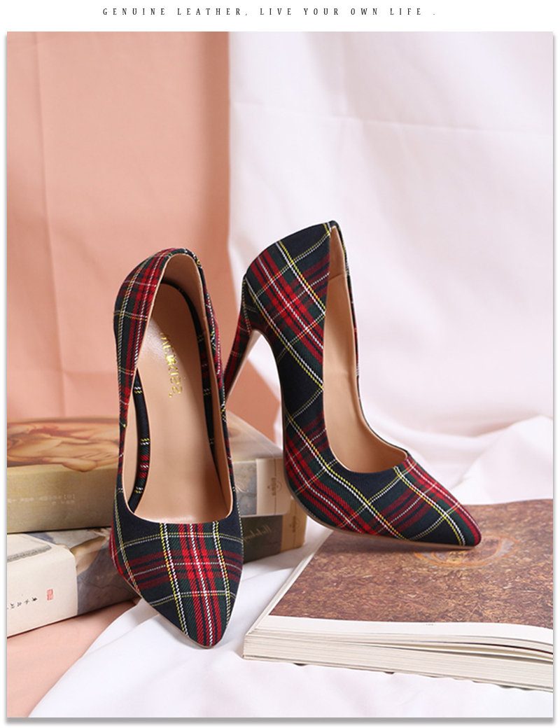 Pumps Heels Red Pointed Plaid Shoes 18