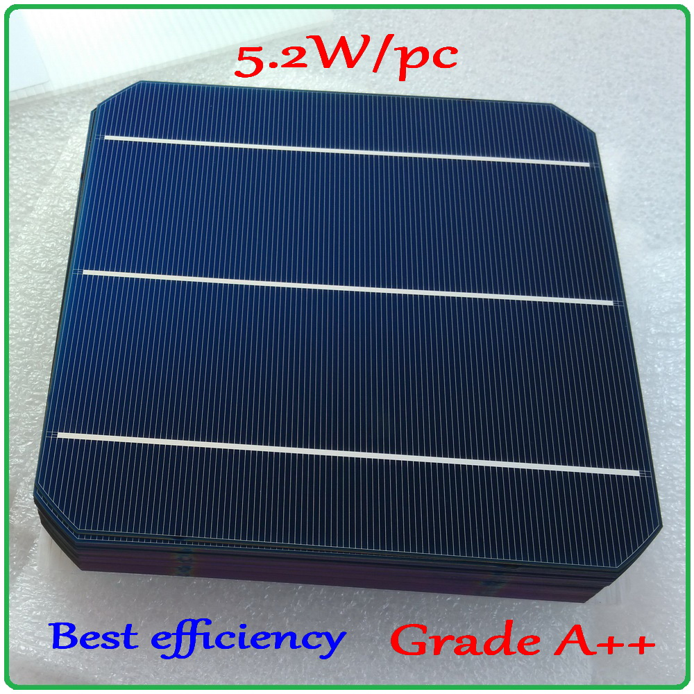 5.2W 156mm monocrystalline Mono solar cell 6x6'+enough PV Ribbon(10m Tab
