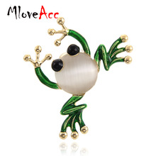 MloveAcc Green Enamel Cartoon Frog Brooch for Women Cute Kawaii Frog corsage accessories Brand Rhinestone Brooches cute brooch green enamel cactus brooches