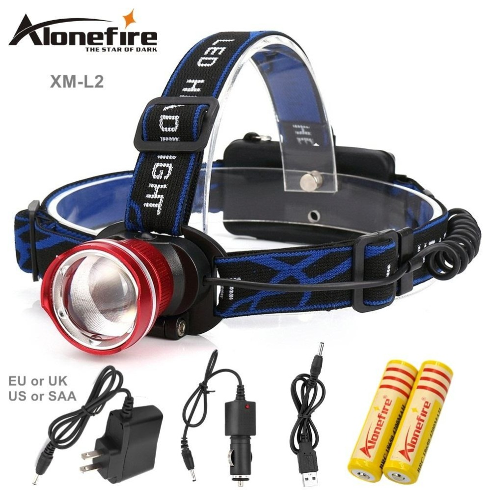 AloneFire HP87 L2 LED Headlamp CREE LED Headlight Flashlight Frontal Lantern Zoomable Head Torch Light Bike Riding Lamp