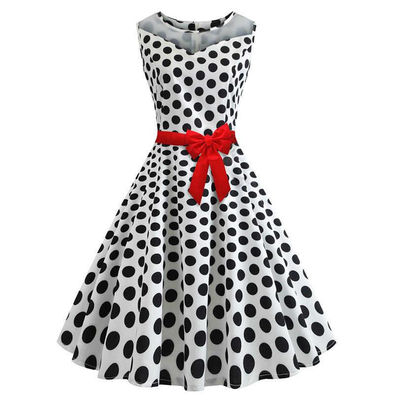 6940cb404d34c Robe ete 2019 Summer Women Polka dot Dress 1950s 60s Robes Vintage Pin up  Swing Rockabilly