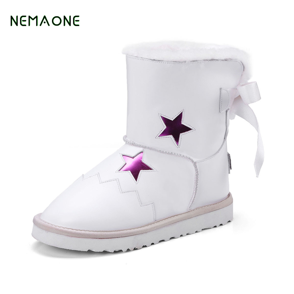 NEMAONE NEW Casual Snow Boots Women Fashion Waterproof Shoes 2017 Winter Leather High Keep Warm Plush Free Shipping Quality