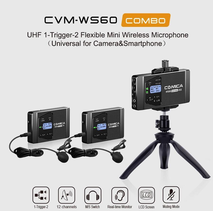 COMICA Microfono CVM-WS60 COMBO Trigger Flessibile Mini Wireless Sistema di Microfono per Smartphone Macchina Fotografica Studio di Registrazione professionale