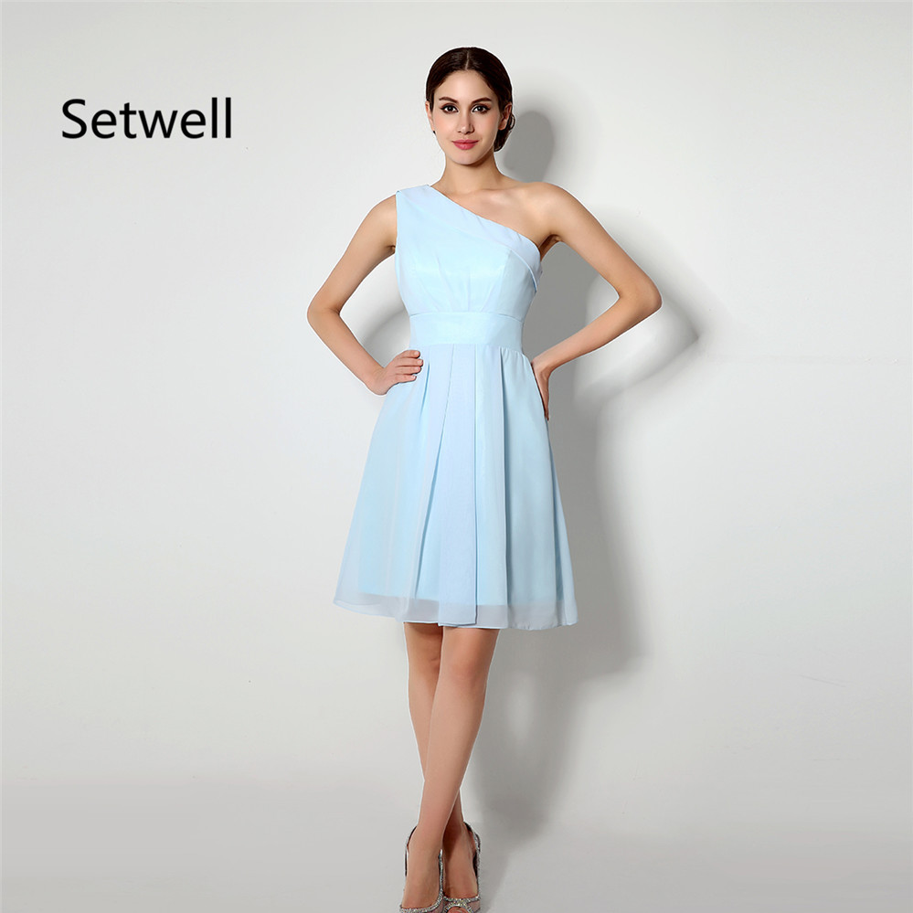 Setwell Simple Light Blue Bridesmaid Dress Summer Chiffon Beach Wedding Gowns One Shoulder Knee Length Short: Wedding Light Blue Short Bridesmaid Dresses At Websimilar.org