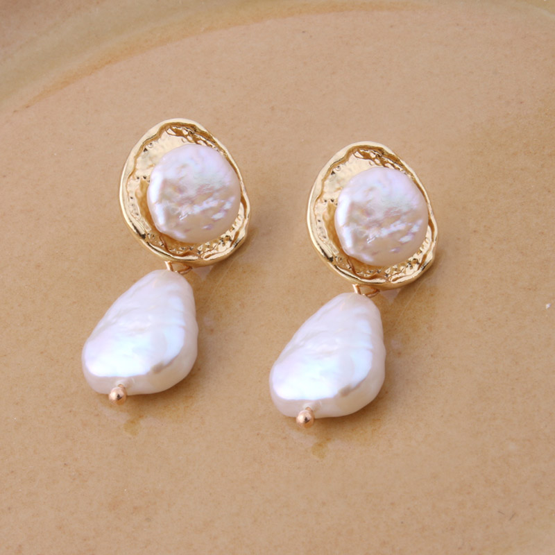 NeeFuWoFu Orecchini NEW Geometric Genuine Pearl Drop Earrings for Women Handmade Hollow Freshwater Pearl Pendant Dangle Ear|Drop Earrings|   - AliExpress