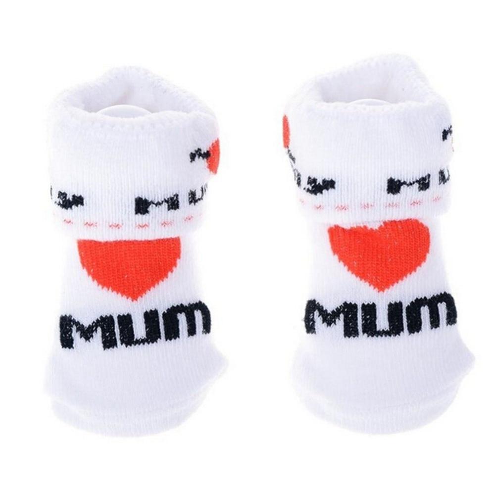 1 Pair Kawaii Cute Soft Newborn Baby Socks Cotton Slip-resistant Floor Socks Love Mom Love Dad Cartoon Socks 0-6 Months
