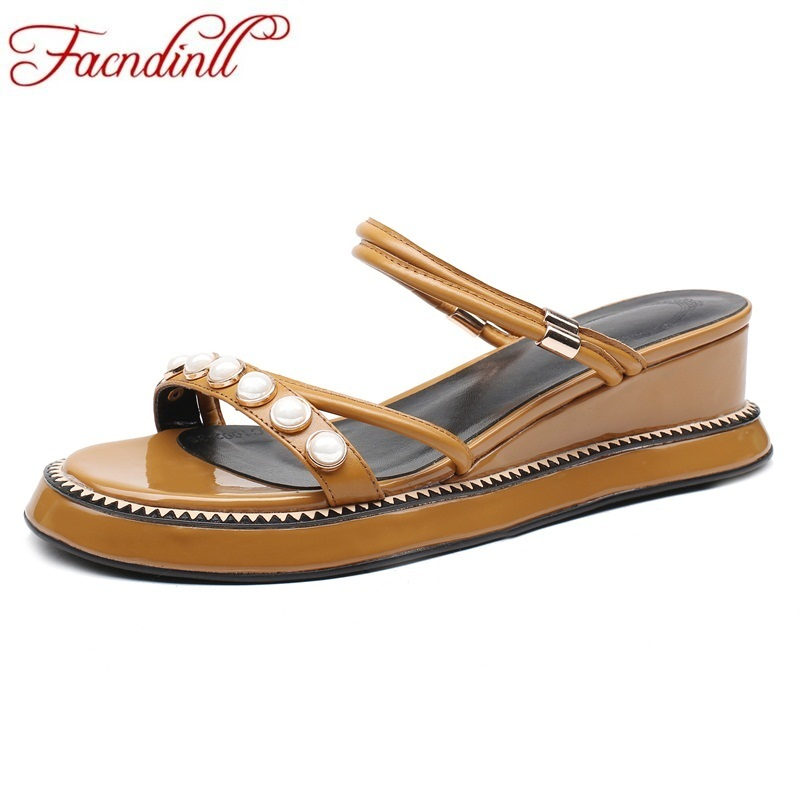 FACNDINLL women sandals 2018 summer string bead platform sandals woman wedges shoes ladies casual date white ankle strap shoes facndinll new women summer sandals 2018 ladies summer wedges high heel fashion casual leather sandals platform date party shoes