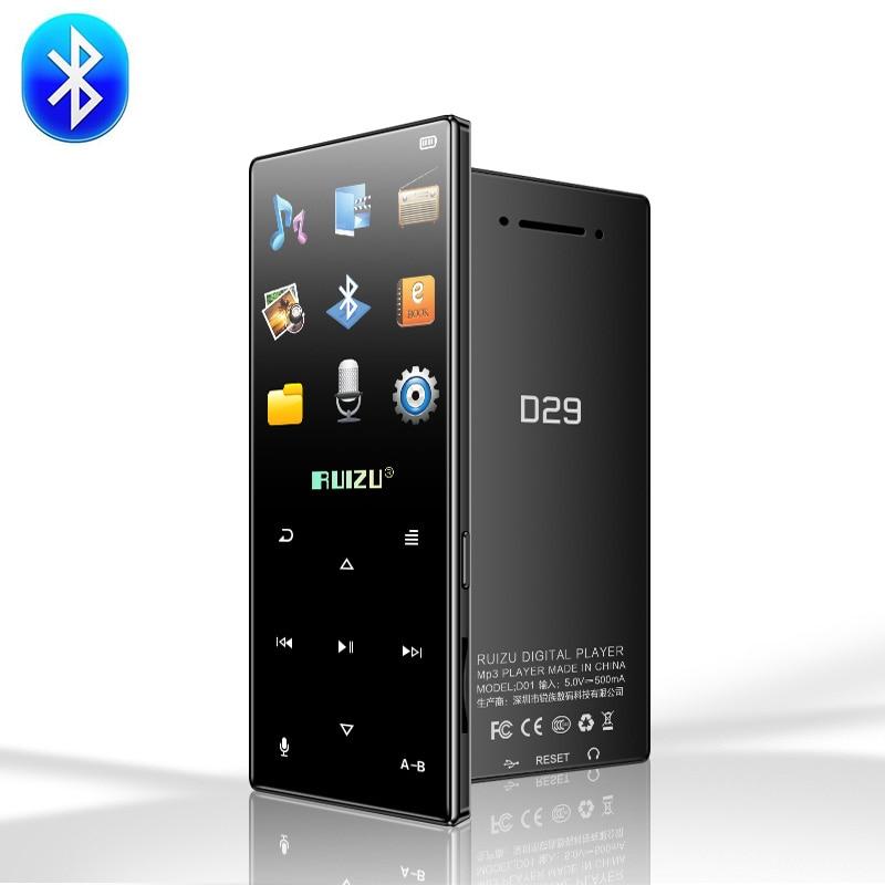 Original ruizu d29 Novo Bluetooth MP3 Jogador Lossless HiFi Music Player de Áudio Portátil 8GB Built In Speaker FM Rádio e-book Relógio