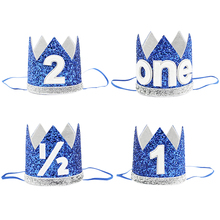 Child Birthday Party Decoration Blue Crown Party Hat Fashion Glitter Sequin Birthday Hat Party Crown Hat For Kids Birthday