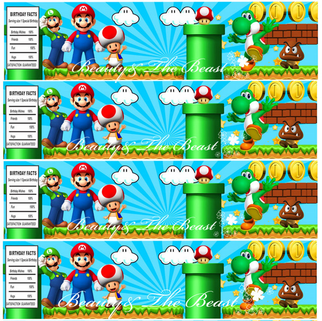 Super Mario Personalized Bottle Water Labels Party Wrappers Baby