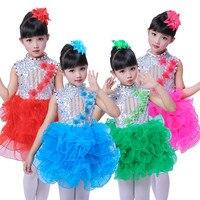 Professional Stage Flounced Mesh Ballet Tutu Dress For Girl Children Performance Ballet Costume Dance Gymnastics Leotard