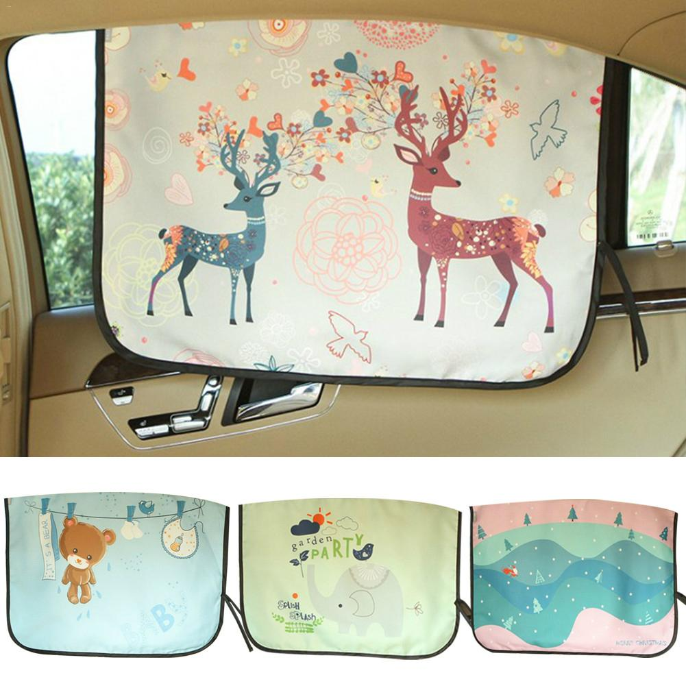 Car Cartoon Printed Sunshade Curtain Window Sun Accessories Lightweight Foldable And Easy To Carry