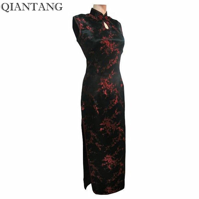 Black-Red Traditional Chinese Dress Mujer Vestido Women's Satin Long Halter Cheongsam Qipao Flower Size S M L XL XXL XXXL J3035
