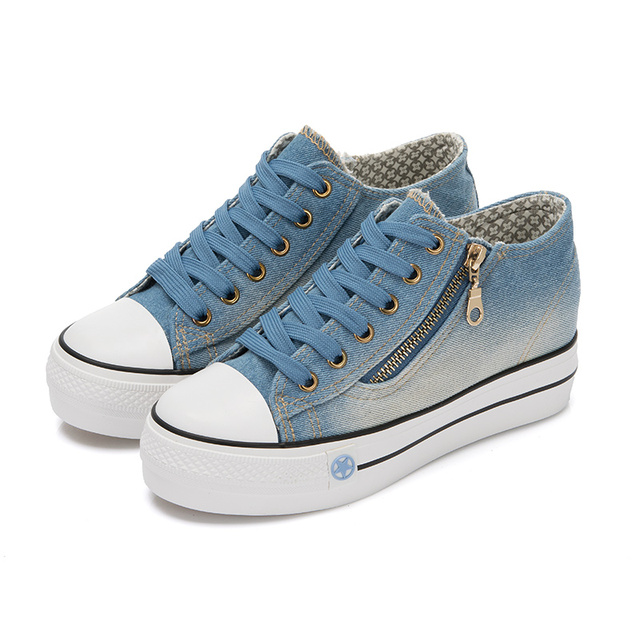 Fashion High Platform Denim Shoes for Women 2016 Breathable Thick Heel Canvas Shoes Women Casual Trainers