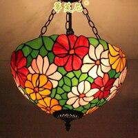 Тиффани стиль Красочный Роуз витражи подвесной светильник для гостиной спальня столовая кабинет бар КТВ кафе лампы