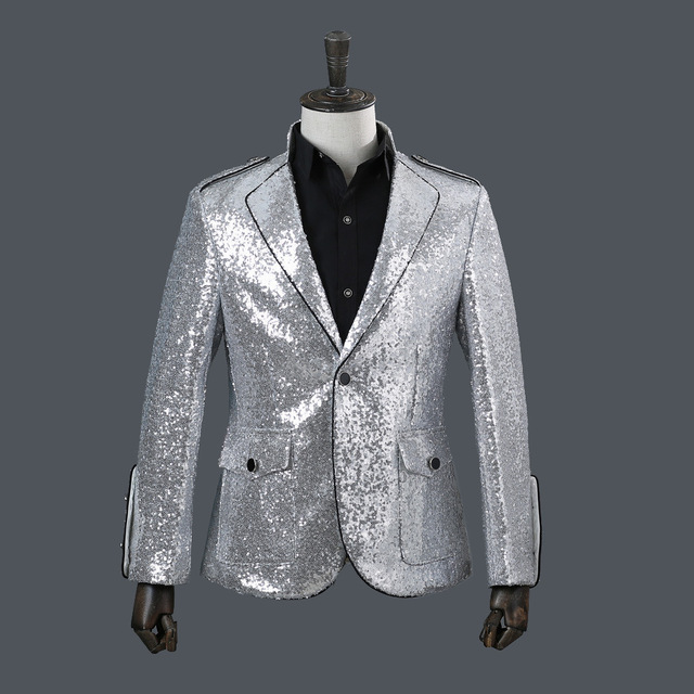 Men Silver Sequin Jacket Christmas Show Concert Wear Men Jacket