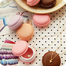 Candy Color Cute Portable Macarons Jewelry Ring Necklace Carrying Case Organizer Storage Box For Girls Decoration 4*4*2cm(China)