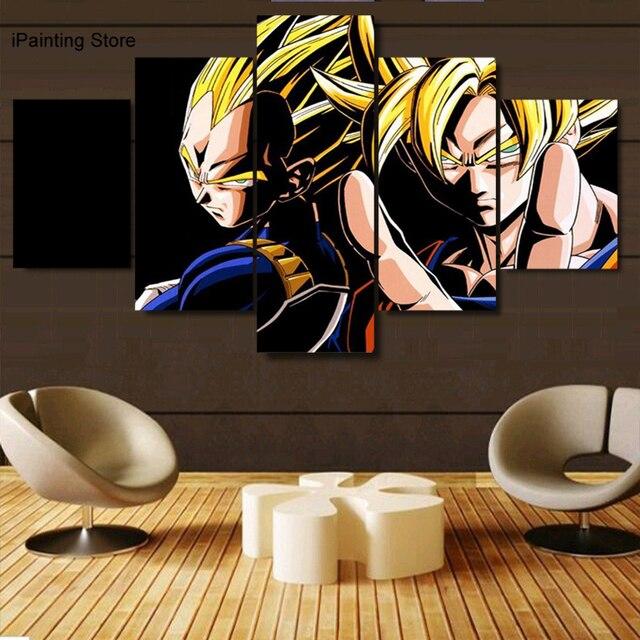 5 Pièces Impressions Sur Toile De Bande Dessinée Dragon Ball Peinture Mur  Art Anime Décor À