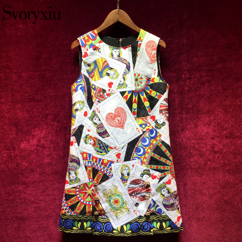 Svoryxiu Runway Vintage A Line Tank Short Dress Womens luxurious Crystal Button Poker Cards Print Jacquard Mini Dresses 2018
