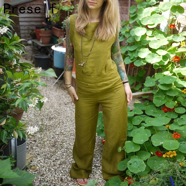 Preself New Sexy Fashion Casual Women Backless Cotton Linen Wide Leg Jumpsuit Summer Playsuit Long Pants Plus