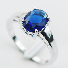 Blue Sapphire 925 Sterling Silver  Ring Dimension 5 6 7 eight 9 10 11 12 PR02