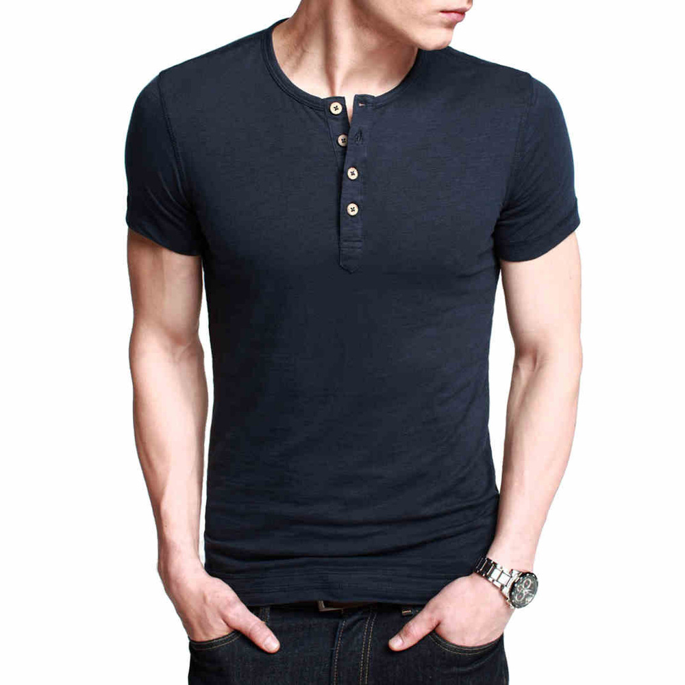 men 39 s basic tee short sleeve henley shirt men slim fit. Black Bedroom Furniture Sets. Home Design Ideas