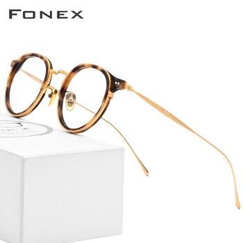 962f94a5ae FONEX B óptico titanio gafas Vintage ronda anteojos recetados Retro mujeres  miopía acetato de gafas