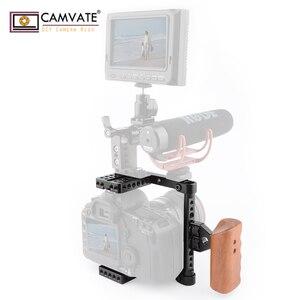 Image 5 - CAMVATE هيكل قفصي الشكل للكاميرا الإفراج السريع نصف قفص مع مقبض خشبي (يمين) للكاميرا DSLR نظام مستقر التصوير Accessories2020