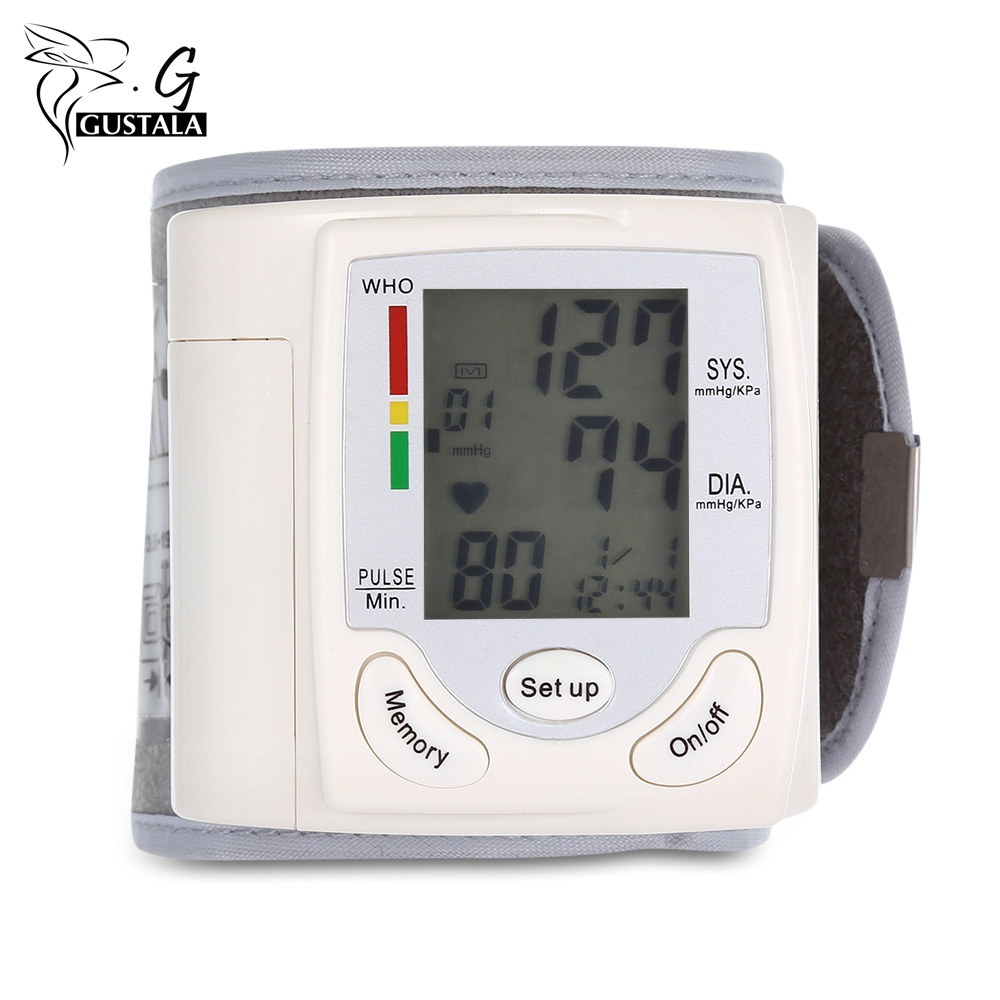 Health Care Portable Wrist Blood Pressure Pulse Meter Digital Automatic Blood Pressure Monitor Household Heart Beat Rate Measure health care automatic digital lcd wrist blood pressure monitor for measuring heart beat and pulse rate dia sys