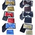2017 новый мужской Сплошной цвет галстук набор галстуки corbatas gravata Свадьба шеи галстук платок запонки коробка