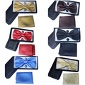 2017 nova cor Sólida dos homens conjunto gravata borboleta bowties lenço abotoaduras gravata corbatas gravata de Casamento caixa