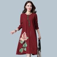 2016 Nouveau Automne Femmes Mode Fleur Imprimer Manches Longues Robe en Lin Lâche et Plus La Taille Top Coton Robes De Lin