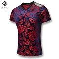 2016 Hombres 3D Impresión Del Verano Camisetas de Los Hombres de Moda Casual Delgado ajuste de Gran Tamaño de Manga Corta V Cuello Camiseta de Verano Outwear Hombre