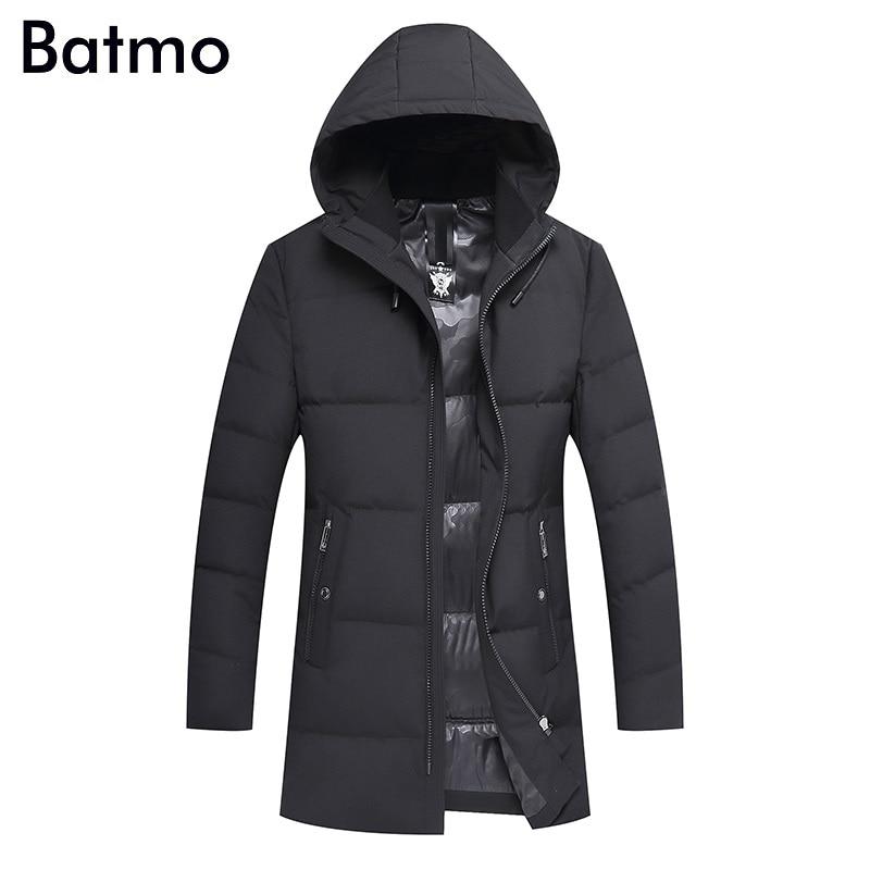 Batmo 2017 new arrival winter high quality 90% white duck down hooded long jacket men,winter mens coat 7611