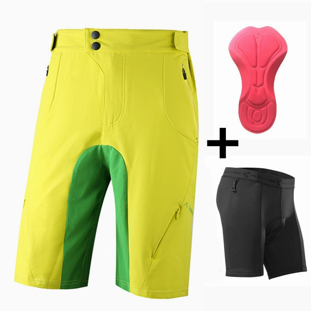 2pcs Mountain  shorts Downhill Mtb Shorts Fashion Short with Gel Pad