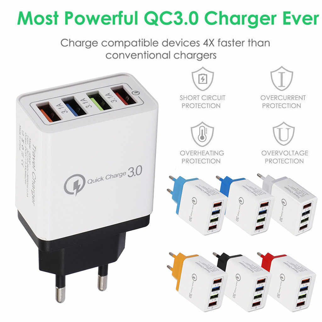 Telefoon Socket Adapter EU Plug Wall Charger 5V 3.5A Snel Opladen 4 Port Fast Quick Lading QC 3.0 USB hub Lader EUPlug