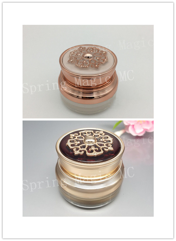 50G Pearl White Gold Luxury Acrylic Cream Jar For Eye Cream CC Cream Foundation Skin Care