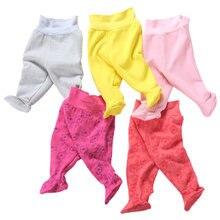 Calça de cintura alta infantil, proteção da barriga, quente, para outono e inverno, de pelúcia, grossa, para os pés, calça para dormir calças grandes pp primavera