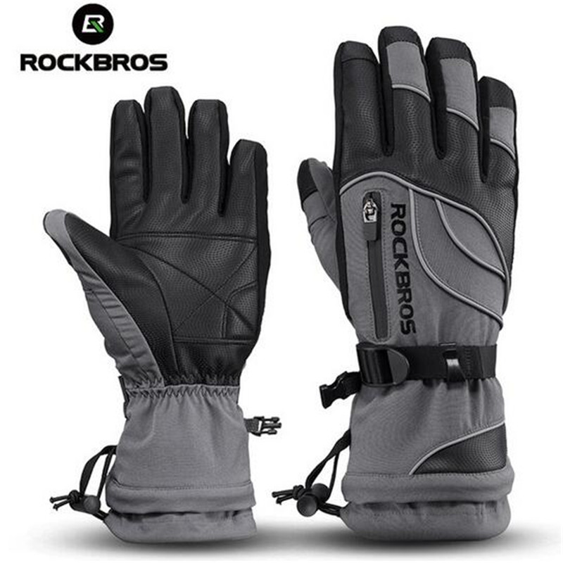 ROCKBROS Long Finger Cycling Gloves Thermal Waterproof Snowboard Gloves Snow Windproof -30 Degree Riding Bicycle Winter Gloves